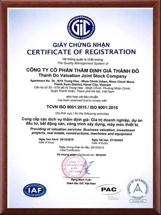ISO 9001:2015 Thẩm định giá Thành Đô